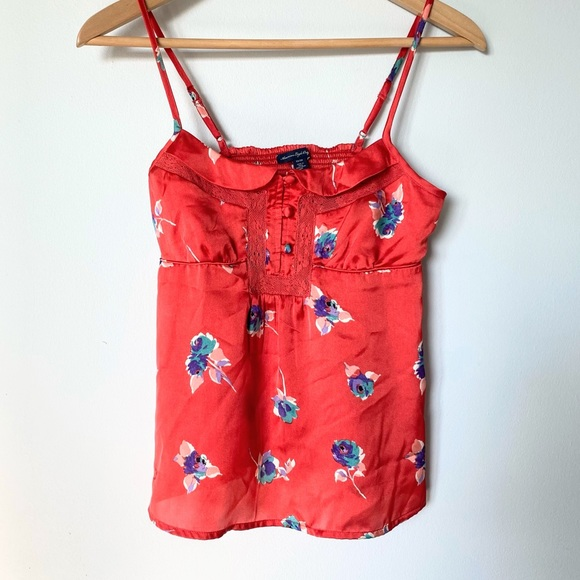 Red American Eagle Floral Silk Baby Doll Cami